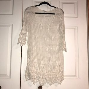 Crochet 3/4 length sleeve dress